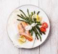 Grilled salmon with asparagus Royalty Free Stock Photo