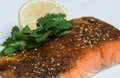 Grilled Salmon cajun spiced fillet with lemon and cilantro Royalty Free Stock Photos
