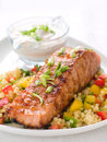 Grilled salmon with couscous Royalty Free Stock Photo