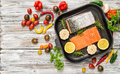 Grilled salmon fish herbs Flat lay food background Royalty Free Stock Photo
