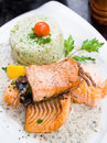 Grilled salmon and lemon Royalty Free Stock Images