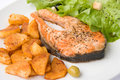 Grilled Salmon with Lettuce 7 Stock Photo