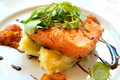 Grilled salmon with potatoes and vegetables Stock Image