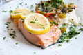 Grilled salmon and rice Royalty Free Stock Image