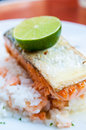 Grilled salmon and rice Royalty Free Stock Photo
