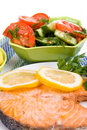 Grilled salmon salad Royalty Free Stock Image