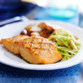 Grilled salmon with slaw and potatoes asian roasted shot close up in square composition Royalty Free Stock Images