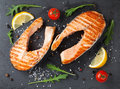 Grilled salmon and spices Royalty Free Stock Photo