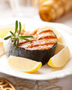 Grilled salmon steak for Christmas Stock Photography