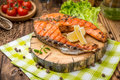 Grilled salmon steak on a plate made Royalty Free Stock Photo