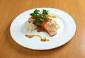 Grilled salmon steak with tartare cream Stock Image