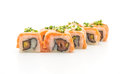 grilled salmon sushi roll - japanese food style Royalty Free Stock Photo