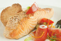 Grilled Salmon and Tomato Salad Royalty Free Stock Photography