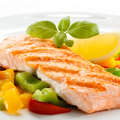 Grilled salmon and vegetables fish dish roasted Royalty Free Stock Photography