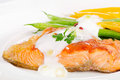Grilled salmon vegetables selective focus Stock Photography