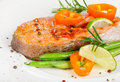 Grilled salmon vegetables selective focus Royalty Free Stock Photo