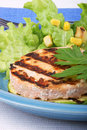 Grilled salmon and zucchin with salad Stock Image
