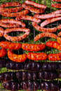 Grilled sausages at bar b cue from spain Stock Photography