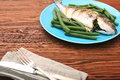 Grilled sea bream fish with green beans