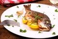 Grilled sea bream fish, lemon on white plate