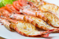Grilled shrimp on plate Royalty Free Stock Photo