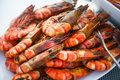 Grilled shrimp on a plate Royalty Free Stock Photo