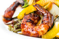 Grilled shrimp salad with parmesan and herbs. Royalty Free Stock Photo