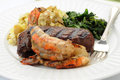 Grilled Shrimp and Steak Royalty Free Stock Images