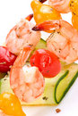 Grilled shrimps and cucumber s Royalty Free Stock Photo
