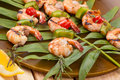 Grilled shrimps, tropical Royalty Free Stock Photo