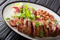 Grilled sliced carne asada beef steak with lettuce and beans clo Royalty Free Stock Photo
