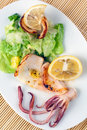 Grilled Squids with Lemon Royalty Free Stock Photo