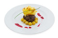 Grilled steak with cheese and fried potato balls isolated on white clipping path Royalty Free Stock Photo