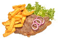 Grilled steak and chips sirloin with lettuce leaves isolated on a white background Stock Photo