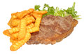 Grilled steak and chips sirloin with lettuce leaves isolated on a white background Stock Images