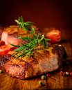Grilled steak closeup detail still life with meat and spices Royalty Free Stock Photo