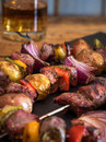 Grilled steak and veggie kabobs Royalty Free Stock Photo