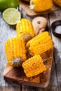 Grilled sweet corn with salt and lime Royalty Free Stock Photo
