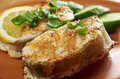 Grilled t bone codfish steak and vegetables Royalty Free Stock Photography