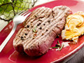 Grilled tenderloin with mushroom Stock Images