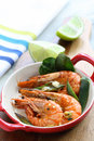 Grilled tiger prawns shrimp large seared in a chilli lime and garlic glaze Royalty Free Stock Images