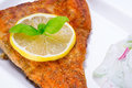 Grilled trout with lemon on the plate Stock Photos