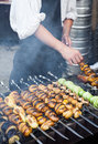 Grilled vegetables barbecue skewers healthy meal picnic food shish kebab Royalty Free Stock Photo