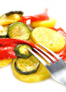 Grilled vegetables isolated on white Stock Photo