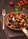 Grilled vegetables on serving pan Royalty Free Stock Photography
