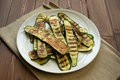 Grilled zucchinis cut to slices dish Stock Photos