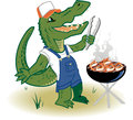 Grillin country gator a backwoods alligator cooking shrimp on the grill Royalty Free Stock Image