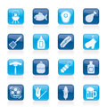 Grilling and barbecue icons Stock Images