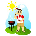 Grilling a guy meat outdoor Royalty Free Stock Photography