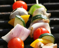 Grilling a kabob Royalty Free Stock Photo